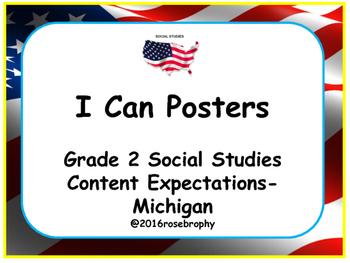 Grade 2 Social Studies I Can Posters- Michigan Program