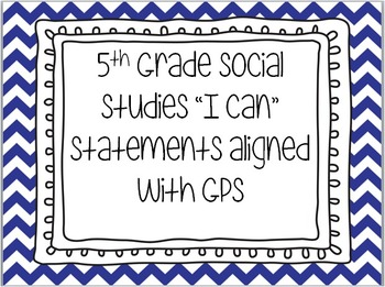 "Social Studies I Can Statements ""EDITABLE"""
