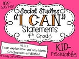 Social Studies I Can Statements (Fourth Grade, Essential Standards: NC)