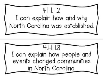 Social Studies I Can Statements (Fourth Grade, Essential Standards)