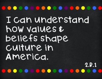 Social Studies I Can Statements for 2nd Grade