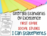 Social Studies I Can Statements for First Grade Georgia St