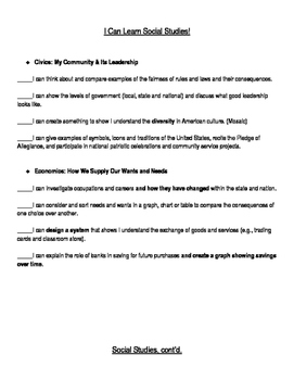 Social Studies I Can Statements for WV