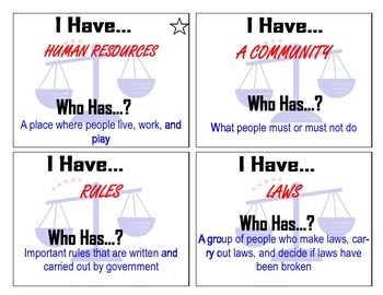 "2008 Standards- Social Studies ""I Have, Who Has?"""