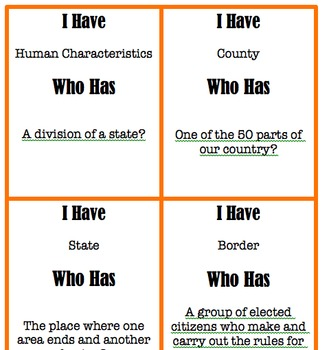 Social Studies I Have Who Has Pack
