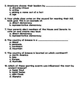 Social Studies Influence of Greece on America Worksheet