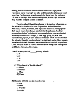 Social Studies Informational Text Comprehension Packet: Hawaii