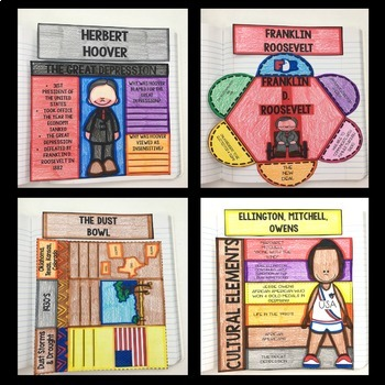 Social Studies Interactive Notebook - 5th Grade New Deal, WWI and MORE