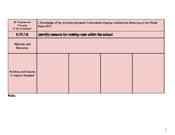 Kindergarten Social Studies Missouri Learning Standards Checklist of Skills