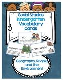 Social Studies Kindergarten Vocab Cards-Passport Geography, People, &Environment
