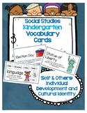 Social Studies Kindergarten Vocab Cards Passport:Self & Others