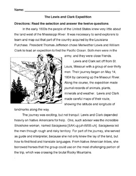History Social Studies LEWIS and CLARK EXPEDITION info 12 Reading Comprehension