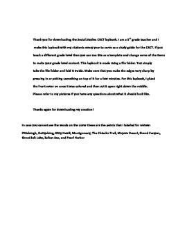 Social Studies Lapbook Common Core Review 5th Grade
