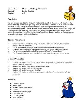 Social Studies Lesson Plans - Women's Suffrage Movement, Famous People
