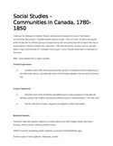 Social Studies Lesson on Early Settlements in Upper Canada