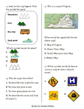 Social Studies: Map Parts Assessment and Study Guide