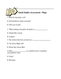"""Social Studies """"Maps and Directions"""" Assessment"""