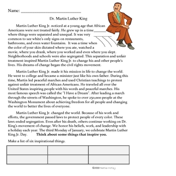 Social Studies: Martin Luther King  Jr. Packet : Black History Month
