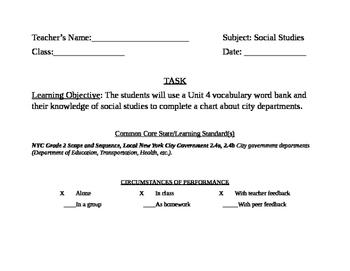 Social Studies May Portfolio Piece Bulletin Board Task Card