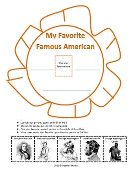 Social Studies: My Favorite Famous Person Ribbon: SOL 1.2