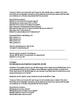 Social Studies NY STATE, 4th grade, chapter #5 lesson plans