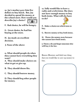 Social Studies: Needs and Wants Assessment and Study Guide