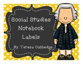 Social Studies Notebook Labels