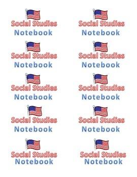 Social Studies Notebook and Folder Labels