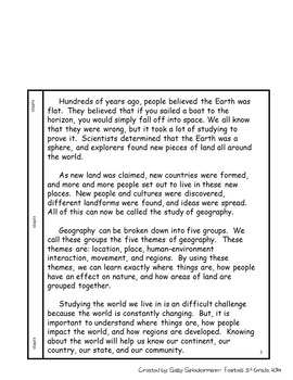 Interactive Notebook - Geography Unit - Social Studies  - With Reading Passages!