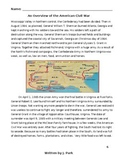Social Studies: OVERVIEW OF THE CIVIL WAR w/ 17 Reading Comprehension Questions