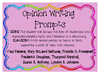 Social Studies Opinion Writing