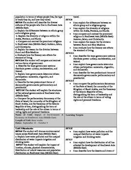 Social Studies Pacing Guide for 7th Grade - Georgia