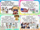 Social Studies Passport Kindergarten Vocabulary Cards Bundle