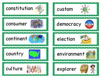 Social Studies Picture Word Wall
