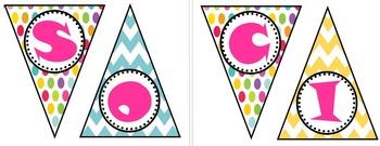 Social Studies Polka Dot and Chevron Bunting Banner