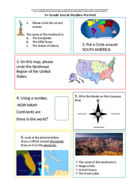 Social Studies Pre and Post Test for 3rd Grade