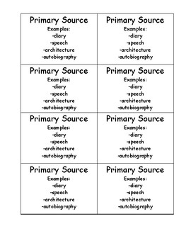 Social Studies Primary and Secondary Sources Game