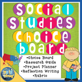 Social Studies Project Choice Board Packet with Research Guide and Rubric