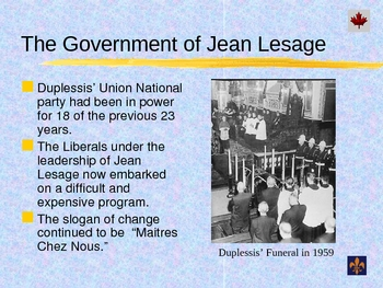 Social Studies - Quebec Nationalism The Quiet Revolution PowerPoint