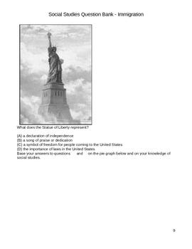 Middle School Social Studies Question Bank - Immigration