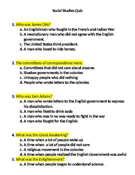 Social Studies Quiz, 8th grade-modified content