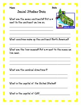 Social Studies Quiz California Grade 3, 4 ,5