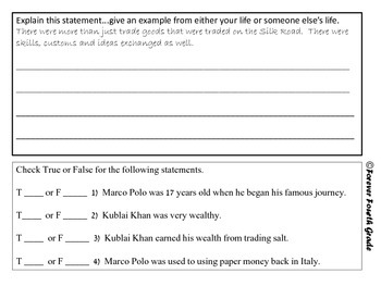 Social Studies Quiz:  Includes Marco Polo, Zheng He, and Kublai Kahn