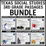 Texas Social Studies 3rd Grade Reading Passages Bundle Distance Learning
