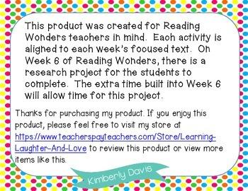 2nd Grade Social Studies Reading Wonders Aligned Activities- 3rd Nine Weeks