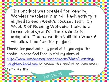 2nd Grade Social Studies Reading Wonders Aligned Activities- 4th Nine Weeks