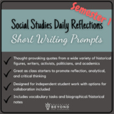 Social Studies Reflections: Short Writing Prompts Semester