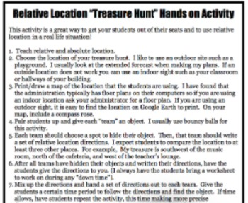 Social Studies Relative Location Treasure Hunt Activity