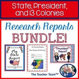 State, President, 13 Colonies  Report Bundle for 5th grade Social Studies