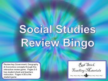 Social Studies Review Bingo